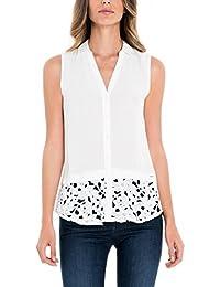 Salsa Camisa Blanca sin Mangas con Encaje