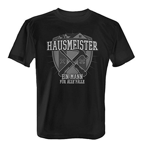 Fashionalarm Herren T-Shirt - Hausmeister - Ein Mann für alle Fälle | Fun Shirt mit Motiv & Spruch für Hauswart Facility Manager Beruf Job Arbeit, Farbe:schwarz;Größe:S