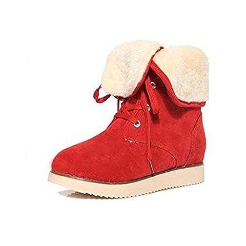 SHIXR Botas para la nieve de las se?oras corbata color s¨®lido tubo de invierno antes de que botas del dulce y c¨¢lido estilo ingl¨¦s , red , 36