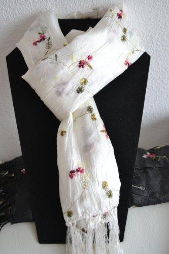 hal mit kleinen rosa-roten Rosen - schönes elegantes Tuch - 50 % Seide hier: weiß (Seide Rote Rosen)