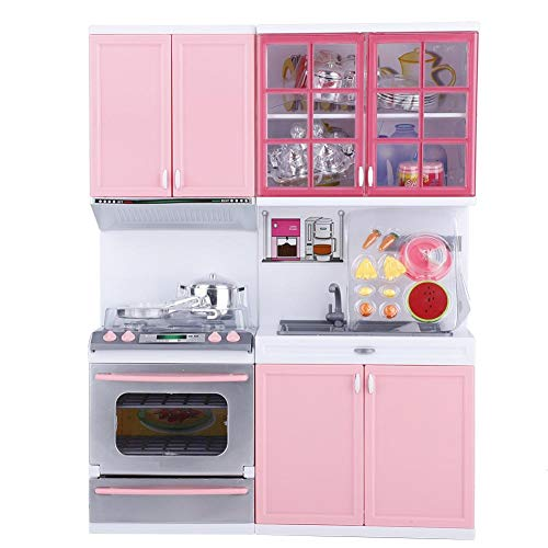 Garosa Spielküche Rollenspiel Mini Pink Kochgeschirr Kinderküche Pädagogisches Spielzeug Geschenk für Kinder mit Licht und Sound (Set Pink Spielküche)