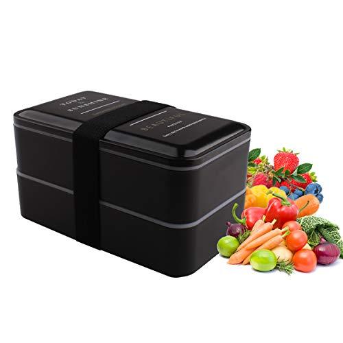 LAWOHO Bento Isolierte Lunch Box 2-stufig bewegliche Trennwand Fächer Karton mit Gabel und Löffel für Kinder & Erwachsene Schwarz