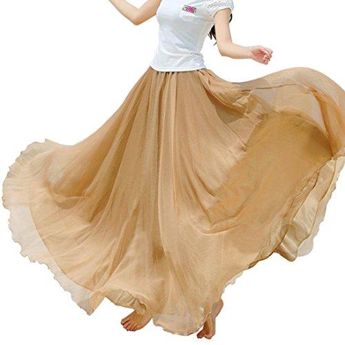 Sannysis Damen Elastische Taillen-Chiffon- lange Maxi-Strandkleid Khaki