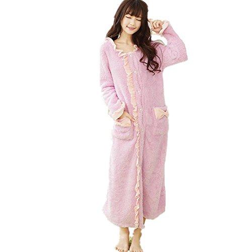 DMMSS Mesdames Nightgown Chemise De Nuit Pyjama Chaud Molleton À Manches Longues En Automne Et Des Vêtements D'Hiver Robe Purple