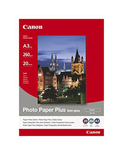 Canon SG-201 Fotopapier Plus Seidenglanz, Satin (260 g/qm), A3, 20 Blatt -