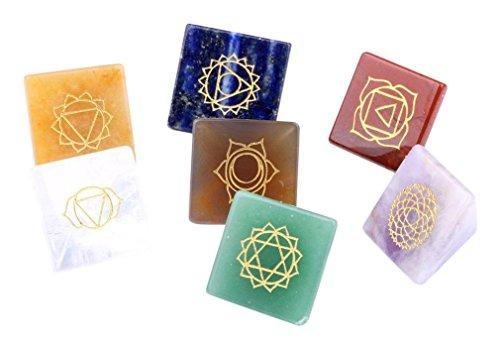 Heilung Kristalle Indien Heilung Kristalle Indien Natur Trommelstein 7/Set Chakra Steine geschnitzt Pyramide Crystal Healing Crafts gemischt Pyramiden - Crystal Heilung Steine