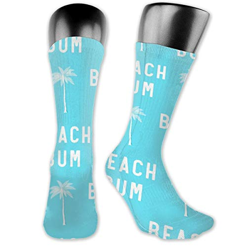 Beach Bum - Blue - LAD19 Casual Athletic Crew Socks Running Gym Compression Foot