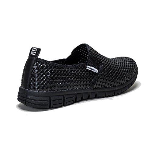 holees original et léger en mousse mémoire pour homme à enfiler Flâneur Chaussures–Différentes tailles et couleurs à choisir Noir - Black-Black