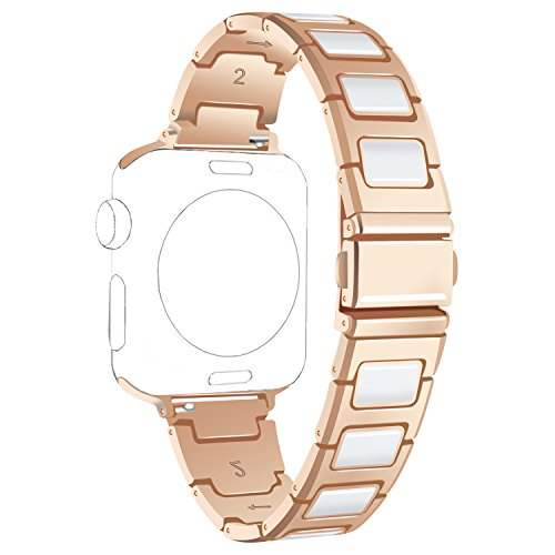 ECSEM for Apple Watch Bands Replacement Metal Stainless Steel with Ceramic Wristbands Watch Straps for Apple Watch Smartwatch Series 1 Series 2 (38mm Rose Gold with White) (Stainless Steel Watch Band, White)