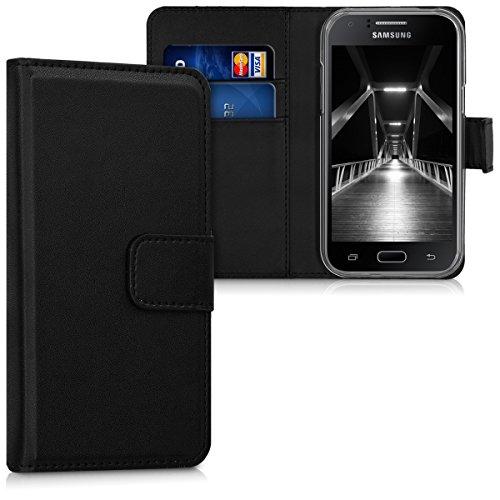 kwmobile Samsung Galaxy J1 (2015) Hülle - Kunstleder Wallet Case für Samsung Galaxy J1 (2015) mit Kartenfächern und Stand