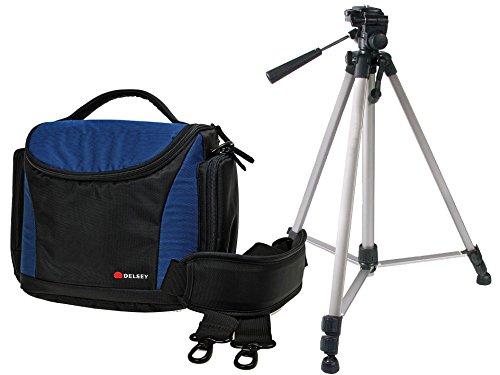 Foto Tasche Kamera Bag DELSEY DELPIX II 175 schwarz-blau - Set mit robustem Reise Stativ mit Stativtasche