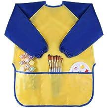 Niños infantiles niños niño impermeable juego delantal de arte con 3 bolsillos-pintura, horneado