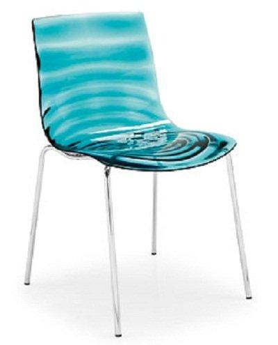 Calligaris Stuhl 2-Wasser stapelbar, Chrom-Grünes Wasser Transparent