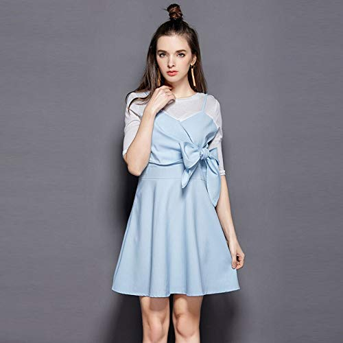 QUNLIANYI Abikleider Lang Dress Front Lace Up Bow Halbschlaf-Casual A-Linie Mini Dress Frauen Fake Two Pieces M Bildfarbe Bow-front Floral Dress