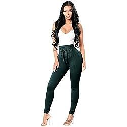 599a966e64a Pantalones Cintura Alta Skinny Mujer Pantalon Slim Tiro Alto Mujer Jeggings  Leggins Push Up Señora Leggings