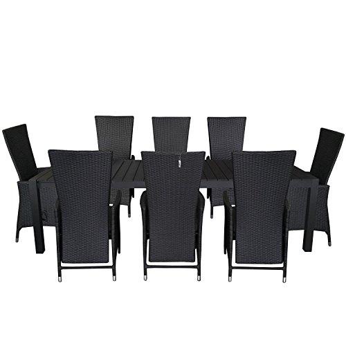9tlg. Gartengarnitur Gartentisch ausziehbar 205/275x100cm Polywood Tischplatte Aluminium Poly Rattansessel Rückenlehne verstellbar inklusive Sitzpolster Sitzgruppe Terrassenmöbel Sitzgarnitur