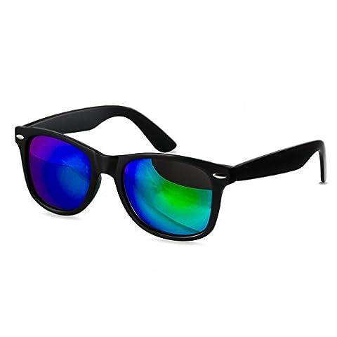 CASPAR SG017 Damen Wayfarer Sonnenbrille , Farbe:kpl. matt schwarz / grün gold verspiegelt (Gold Grün Sonnenbrille)