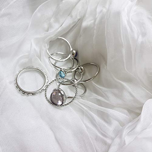 GYMNJQ Bunte Stein metallic Fingerringe Hit Ringe für Frauen Mädchen