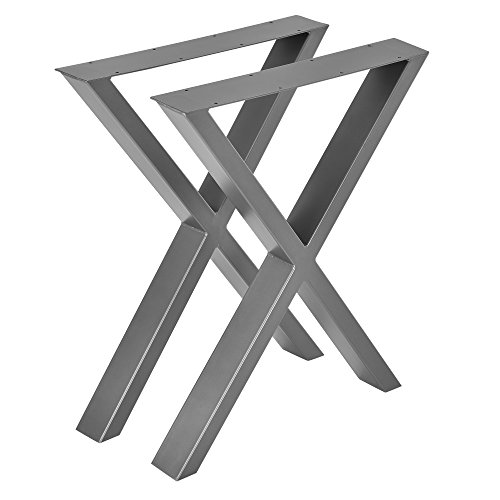 [en.casa]®] Conjunto de Patas de Mesa - Set de 2X Patas de Mesa - Gris metálico - 59 x 72 cm - Patas para Mesa en Forma de X