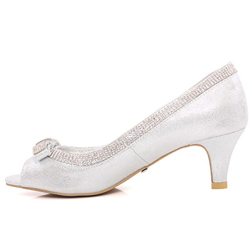 Unze Women Bazzle Evening Party Get-Together Soiree Carnival Court Shoes Royaume-Uni Taille 3-8 Argent