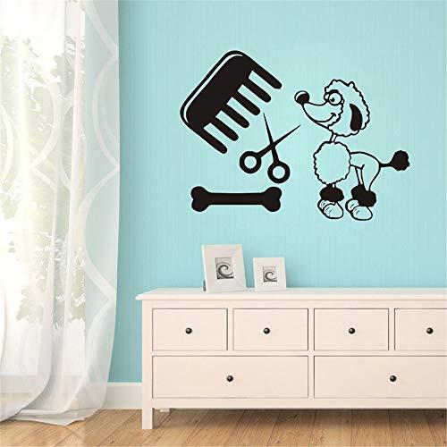 yiyiyaya Kreative Tiere Hund Salon Wandtattoos Haustiere Home Design Für Babys Schlafzimmer Dekor Wandaufkleber Vinyl Wandbild grau 42x33 cm