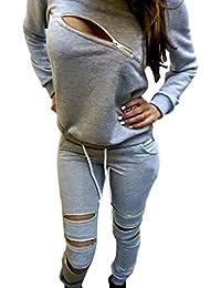 Baymate Mujer Deportivos Chándal Casual Cremallera Atractivo Sweatshirt Sudadera + Pantalones