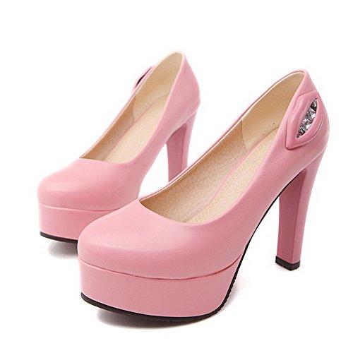 VogueZone009 Damen Rein Hoher Absatz Ziehen Auf Rund Zehe Pumps Schuhe Pink