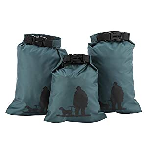 Alomejor 3pcs Nylon Green Waterproof Dry Storage Pouch Bag Canoe Kayak Rafting Camping Equipment