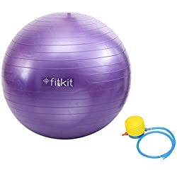 Fitkit FK97403 Anti-Burst Gym Ball with 4.5-inch Foot Pump, Adult 65cm (Purple)