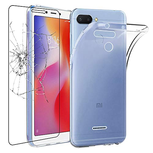 ebestStar - Funda Xiaomi Redmi 6 6A Carcasa Silicona, Protección Crystal Clear TPU Gel, Ultra Slim Case, Transparente + Cristal Templado Protector Pantalla [Aparato: 147.5 x 71.5 x 8.3mm, 5.45'']