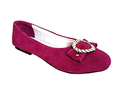 Damen Trachtenschuhe Ballerinas aus Echt Leder, Pink, Gr.38