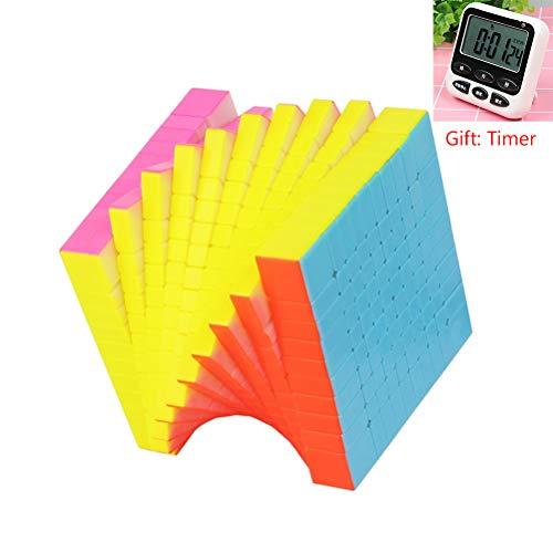 PPu Speed Cube 2-11 Schritte, Rubiks Cube Set professionelle glattes Gefühl komfortable Fluoreszenz 2×2, 3×3, 4×4, 5×5, 6×6, 7×7, 8×8, 9×9, 10×10, 11×11 (Geschenk: Timer),10 * 10