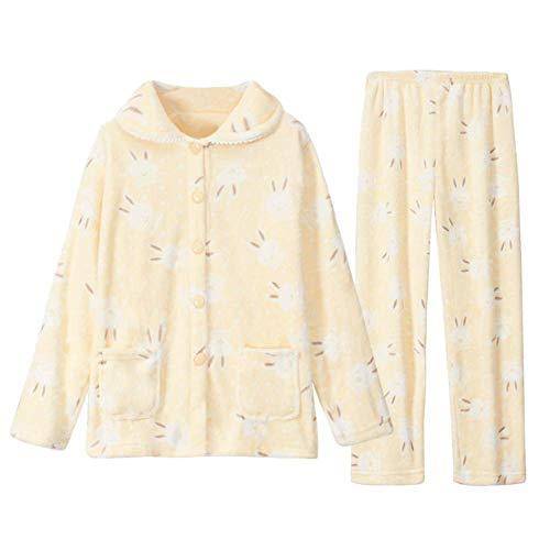 LLRCAZR Pyjamas Herbst Winter Verdickung Coral Velvet Pyjamas Familie Kleid Velvet Flanell Long Sleeves Cardigan, XL