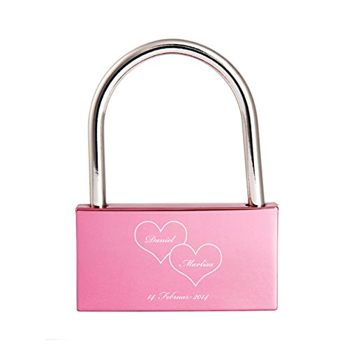 Liebesschloss mit Gravur / Namen / Datum / Herz / Schreibschrift - rosa / pink / violett