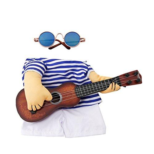 er Pet Guitar Kleidung mit Brille Hund Gitarrist Dressing Kostüm (Farbe: Weiß & Blau) (Größe: XL) (Literarische Kostüme)