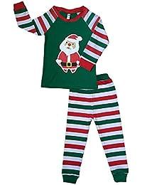Tkria Enfants Garçon Fille Rouge Manche Longue Père Noël Ensembles de Pyjama Vêtements de Nuit Taille 1 Ans - 7 Ans