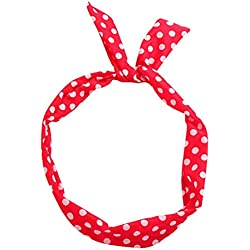 [Nuevo 2019] SHOBDW Diademas Mujer Paisley Rockabilly con Cable Diadema Lunares Banda De Pelo De Alambre De Bufanda Retro De Tartán Cintas para el Pelo Mujer (Rojo, Talla única)