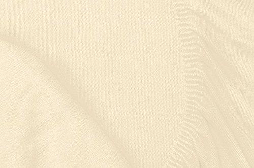 Double Jersey - Spannbettlaken 100% Baumwolle Jersey-Stretch bettlaken, Ultra Weich und Bügelfrei mit bis zu 30cm Stehghöhe, 160x200x30 Natur Weiss - 7
