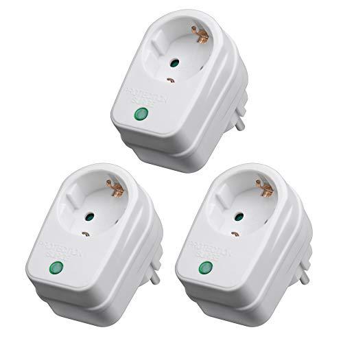 3X Steckdosenadapter mit Überspannungsschutz | 230 V | Blitzschutz Netzschutz Zwischenstecker Steckdose | 3500 W | mit Kindersicherung | 3 Stück