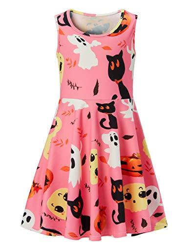 (ACUCANDY Mädchen's Casual Halloween Kostüms Drucken Ärmellos Midi Kleid Rosa)