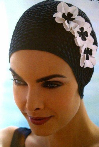 Fashy - cuffia da piscina da donna, con 3 fiori bianchi, stile vintage, colore: nero
