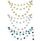 Cosanter 3PCS Bunting Colgantes Salón de Fiestas la Boda de Papel de Estrellas Guirnaldas de Decoración de cumpleaños (Dorado+Azul+Plata) 4 m