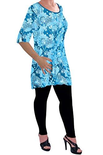 Eye Catch - Eliana Dames Impression Chemisier Écoper Cou Tunique Aux Femmes Balançoire Éclairé T-Shirt Tops Turquoise