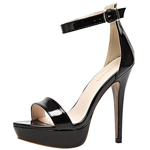 Oasap Women's PeepToe Platform High Heels Ankle Strap Sandals Black