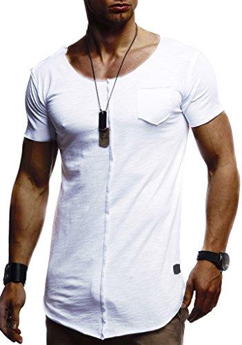 Leif Nelson Herren Sommer T-Shirt Rundhals-Ausschnitt Slim Fit Baumwolle-Anteil Basic Männer T-Shirt Crew Neck Hoodie-Sweatshirt Kurzarm lang LN6288 Weiß Large