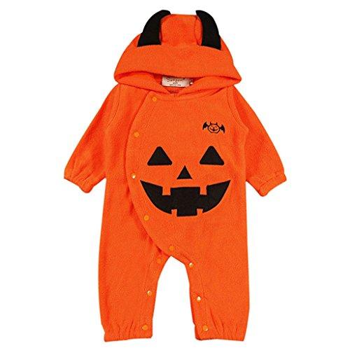 Vine bambino pagliaccetto con cappuccio halloween jumpsuit zucca tutina in pile inverno costume, 6-9 mesi