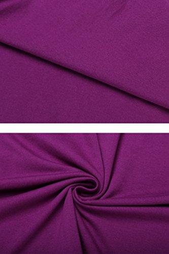 Teamyy Damen Kleid Cocktailkleid Ballkleid Partykleid Brautkleid Swing A-Linie Gürtel Ärmellos O-Ausschnitt Purpur