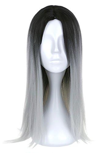 Perücke mit Schwarz Grau Farbverlauf (Oma Kostüme Für Frauen)