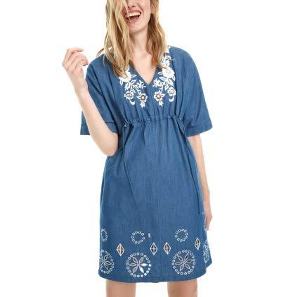 Desigual Damen Vest_Electra Kleid, Denim Medium Wash, 46 EU Medium Wash Denim Vest