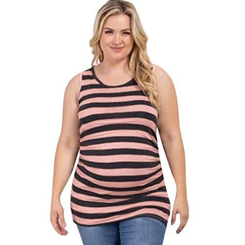 Mymyguoe Damen Stillpyjama-Umstandspyjama-Schlafanzug Hausanzug Pyjamas Ärmellos& Hosen mit Ärmelloser Streifen Schwangere Baby Weste Kleidung[Rosa,XL] -